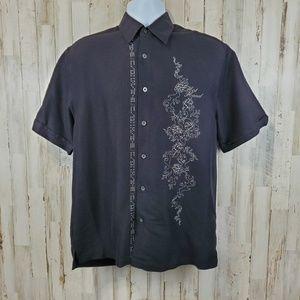 Cubavera Mens Shirt Black Embroidered Hot Hand Dic